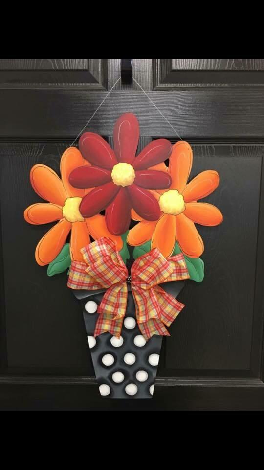 DIY 3 Flower Pot Door Hanger Cutout