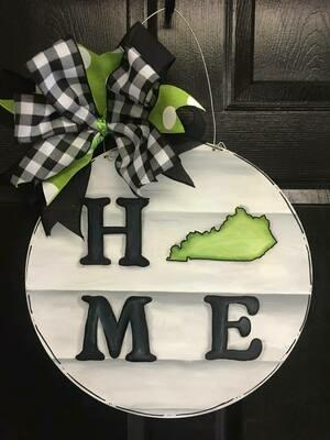 "DIY Circle ""Home"" w/ State Door Hanger Cutout"