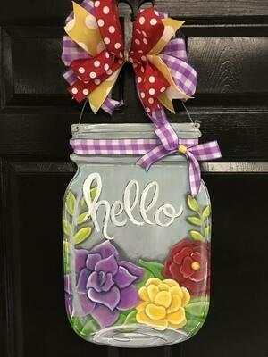 Flower Mason Jar Door Hanger