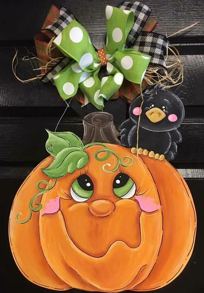 DIY Pumpkin with black Crow Door Hanger