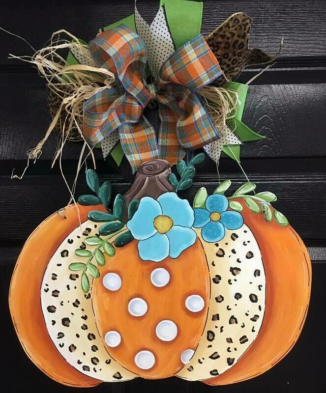 DIY fancy leopard Pumpkin Door Hanger