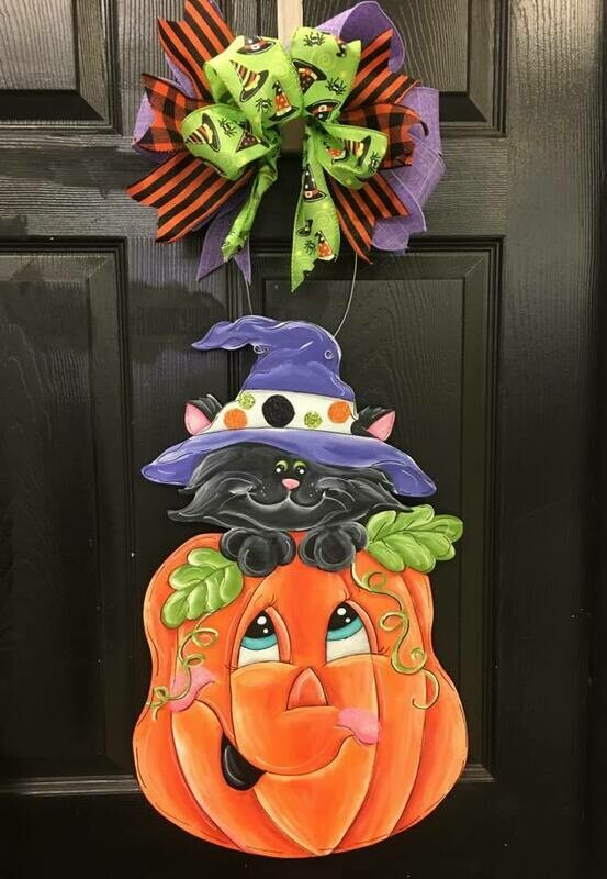 DIY Pumpkin & Witch Black Cat Door Hanger Cutout