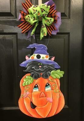 DIY Pumpkin & Witch Black Cat Door Hanger Cutout