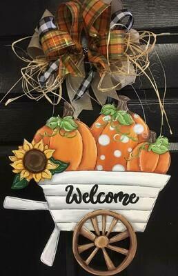 DIY Fall Pumpkins in Wheel Barrel  Door Hanger
