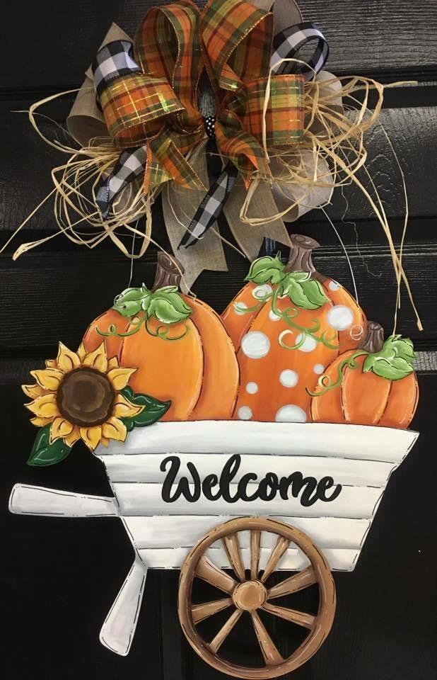 Wheel barrow w/ 3 pumpkin Door Hanger