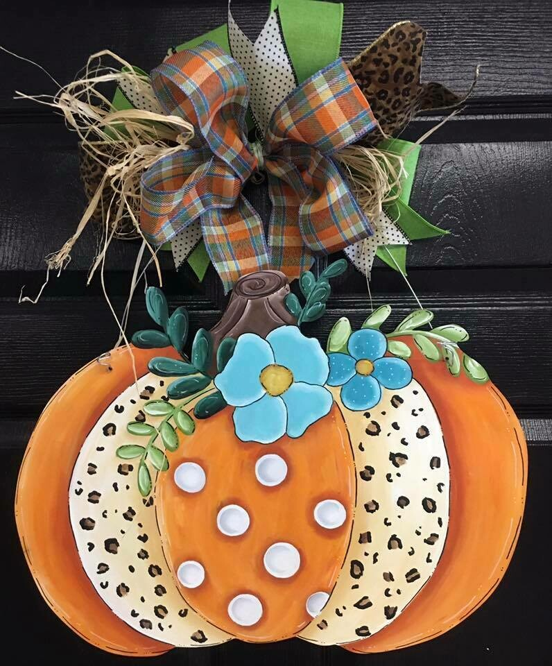 Pumpkin w/ cheetah desing Door Hanger