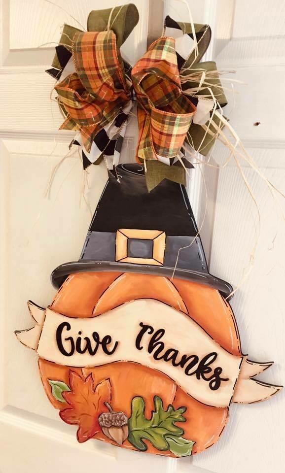 Pumpkin w/ top hat Door Hanger