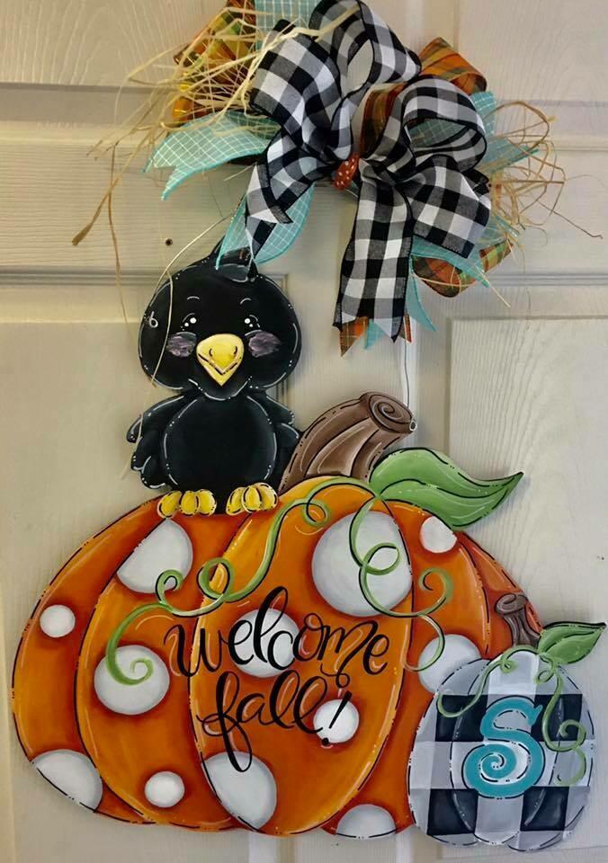 Double Pumpkin w/ crow Door Hanger