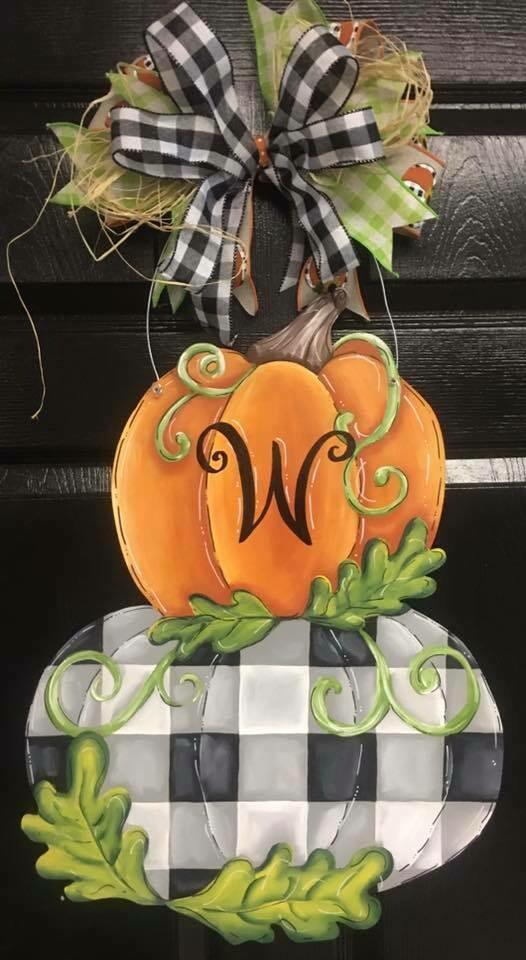 Stacked Double Pumpkin w/ buffalo print Door Hanger