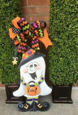 Ghost w/ Witch Hat Door Hanger