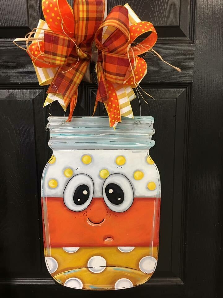 Candy Corn Mason Jar Door Hanger