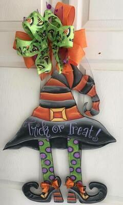 DIY Witch Hat with Legs Door Hanger Cutout