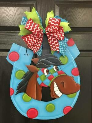 DIY Goofy Horse Shoe  Door Hanger