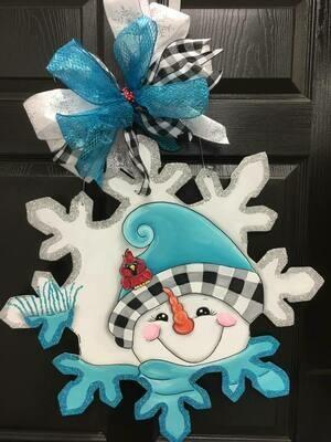 Snowman (buffalo plaid) with Snowflake