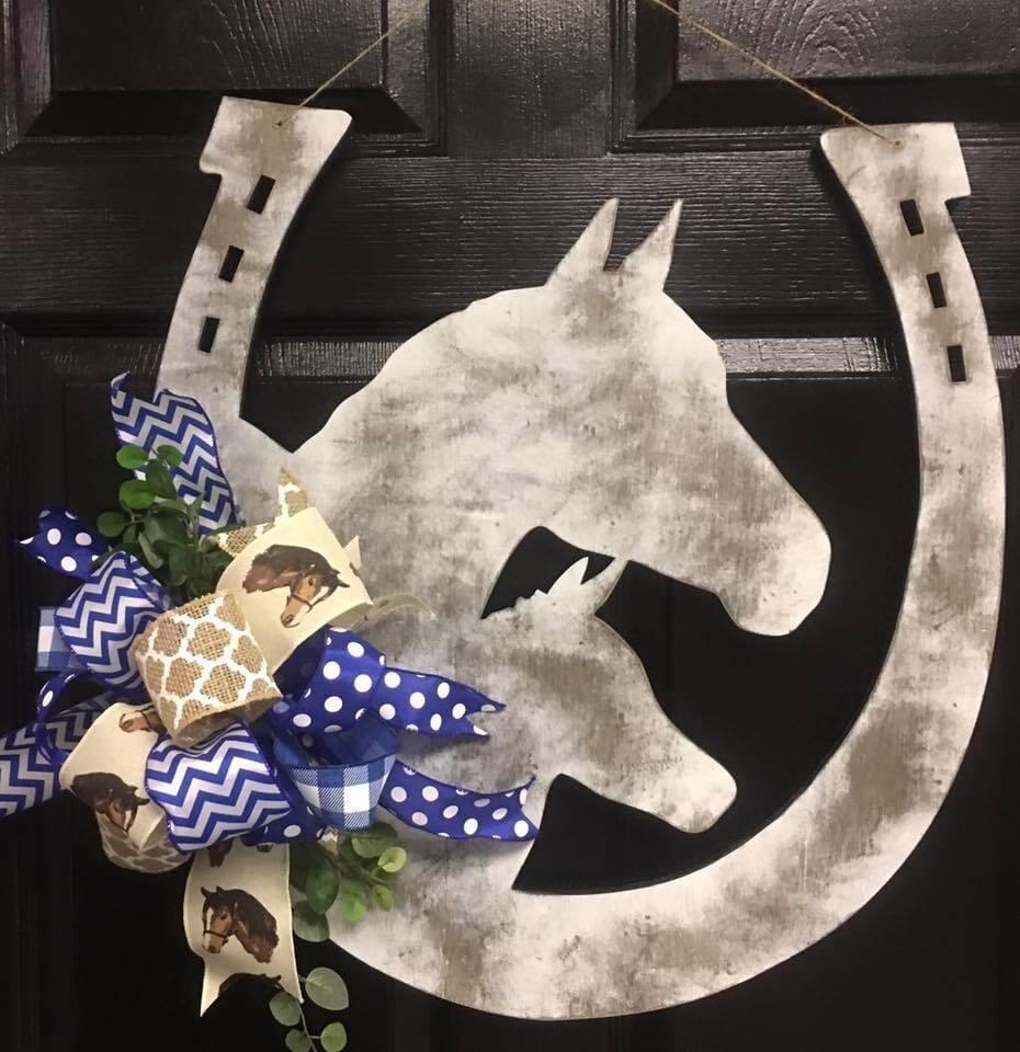 Mare & Foal Horseshoe Distressed Door hanger