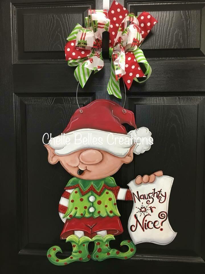 """""""Naughty or Nice"""" Elf Door Hanger"""