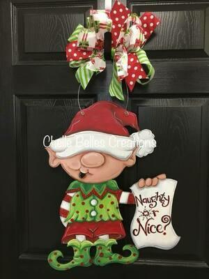 """DIY """"Naughty or Nice"""" Elf Door Hanger"""