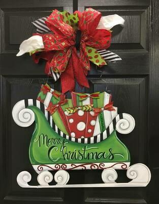 DIY Santa's Sleigh Door Hanger
