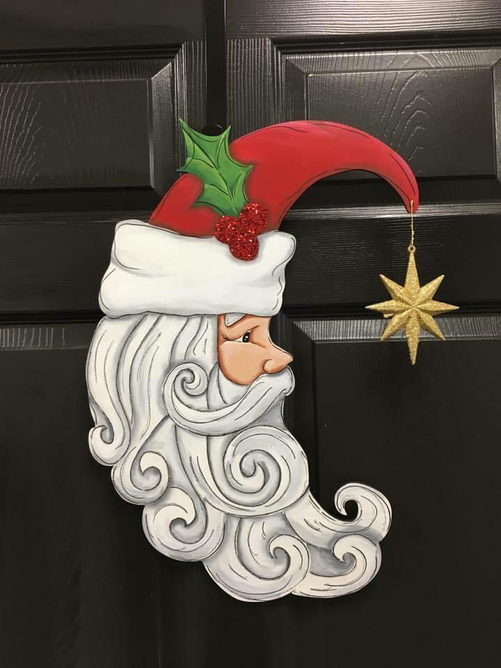 Santa in the Moon Door Hanger
