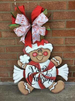 DIY Gingerbread Candy Man Door Hanger