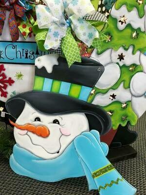 Frosty with scarf & hat Door Hanger