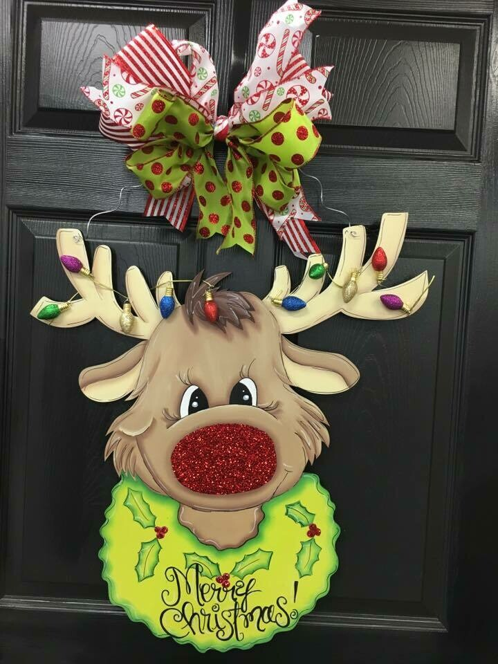 DIY Rudolph the Reindeer Door Hanger