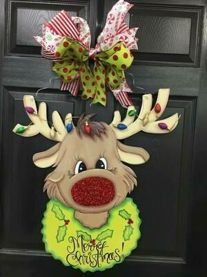 DIY Rudolph the Reindeer Door Hanger