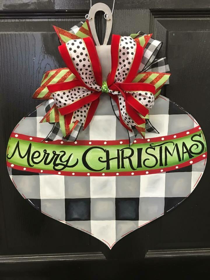 Buffalo Plaid Ornament-Merry Christmas