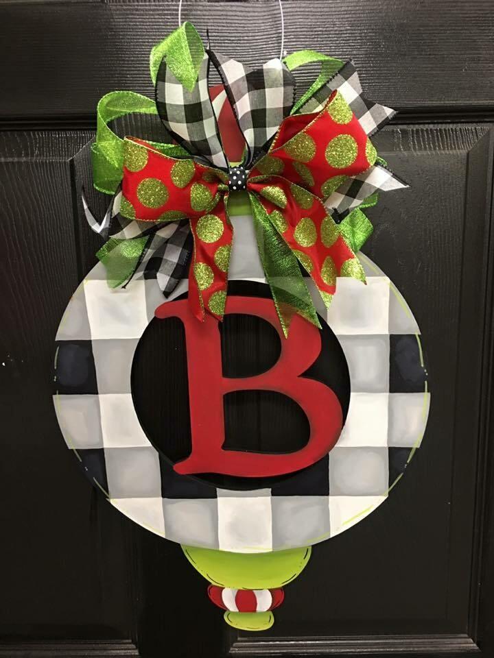 Buffalo Plaid Ornament-Monogram Doorhanger