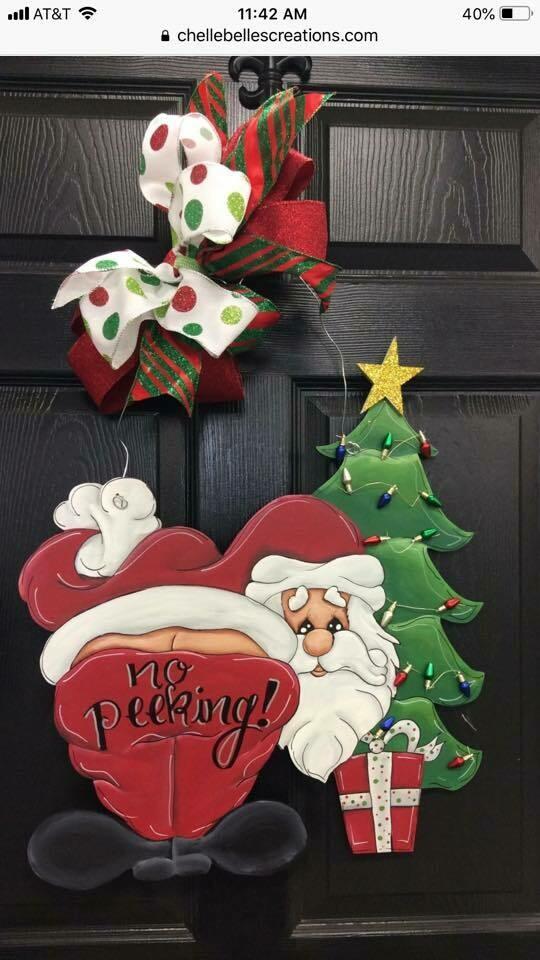 """""""No Peeking"""" Santa Door Hanger"""