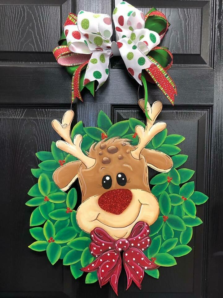Reindeer in a Wreath Doorhanger