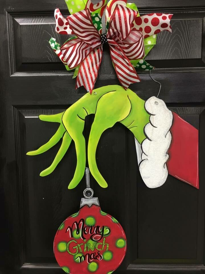 "Grinch-""merry grinchmas"" holding ornament doorhanger"