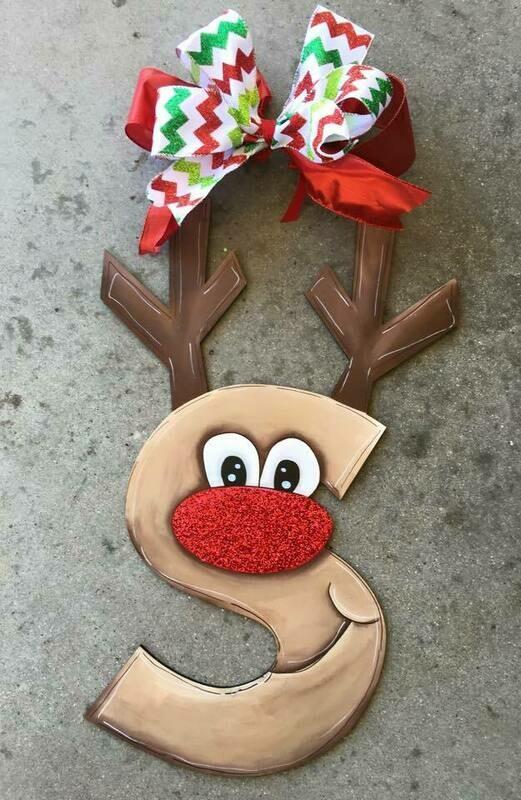 Reindeer Initial Ornament