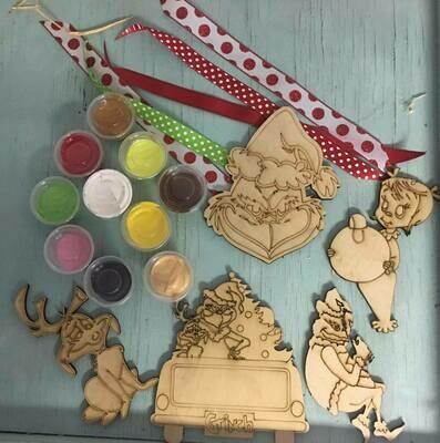 DIY Grinch ornament set
