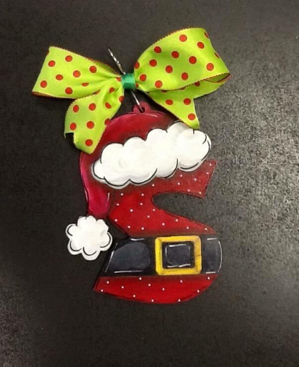 Santa Hat Initial Ornament