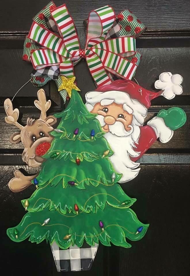Santa Reindeer Peeking around the tree door hanger