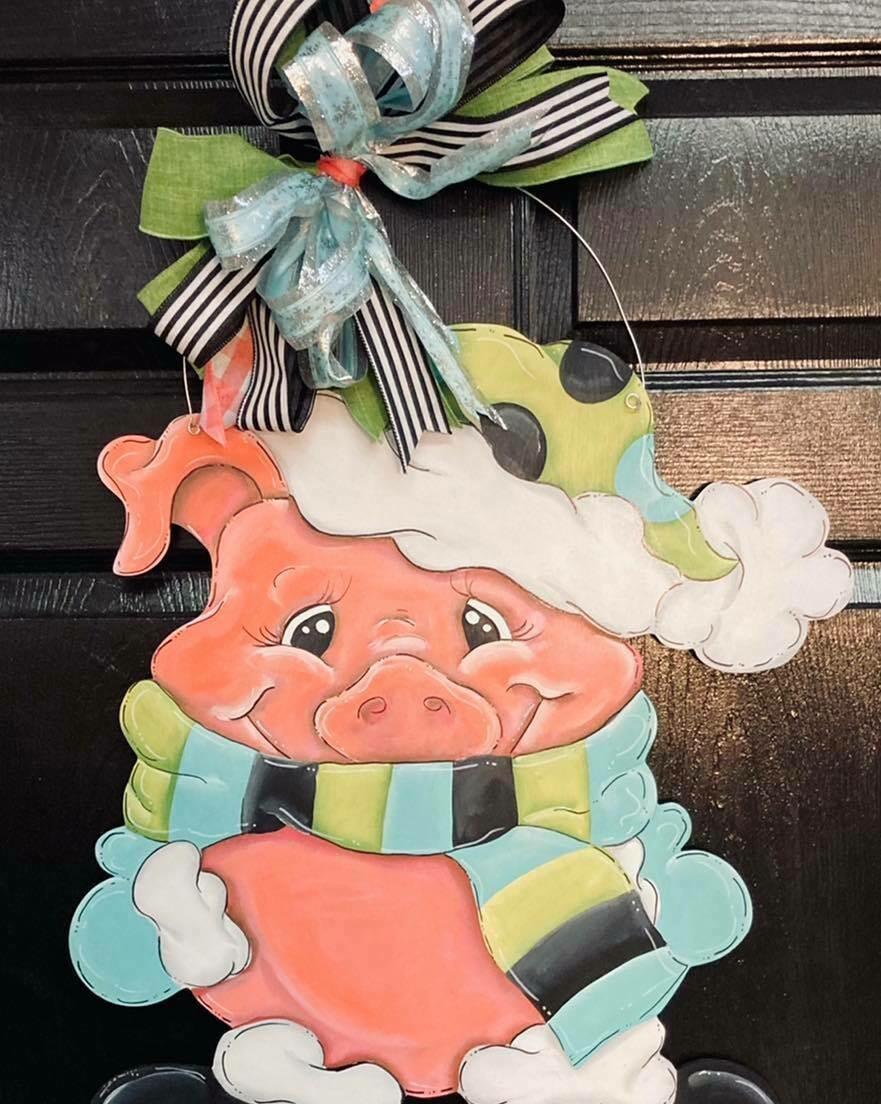 Pig in scarf door hanger
