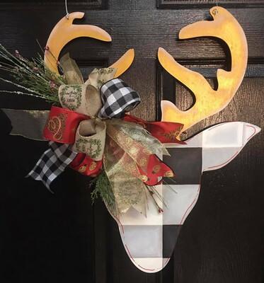 DIY Reindeer Antlers Buffalo Plaid Door Hanger