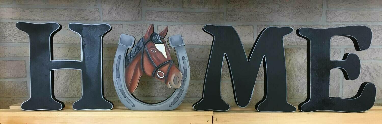 "DERBY Realistic Horseshoe""HOME"" shelf sitter set"