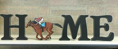 "DERBY Horse and Jockey ""HOME"" shelf sitter set"