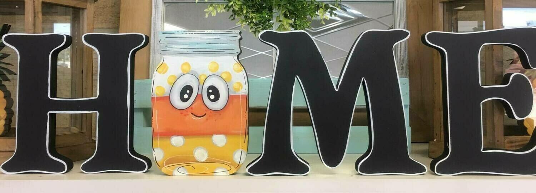 Candy Corn Mason Jar HOME Insert only