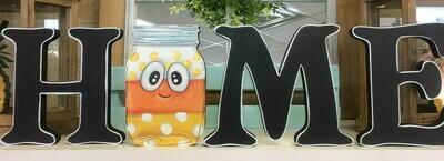 Candy Corn Mason Jar HOME shelf sitter set