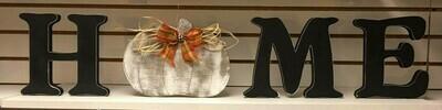 Distressed Pumpkin HOME shelf sitter set