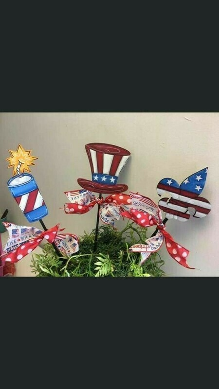 4th of July Flower Pot Stakes