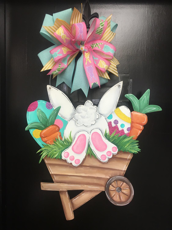 Easter Bunny In Wheelbarrow