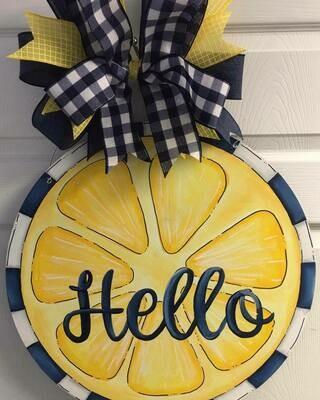 Hello Lemon Door Hanger