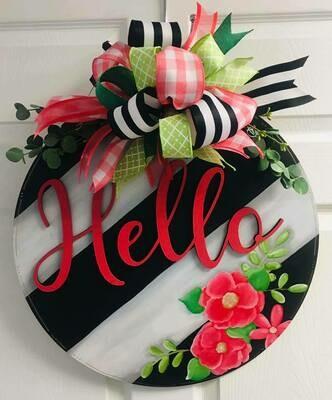 Hello Circle B&W w/ Flowers