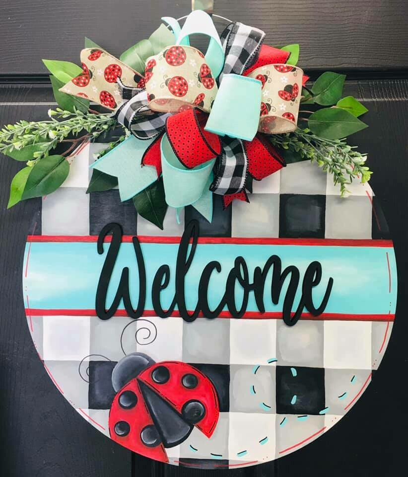 Buffalo Check Ladybug Welcome Circle