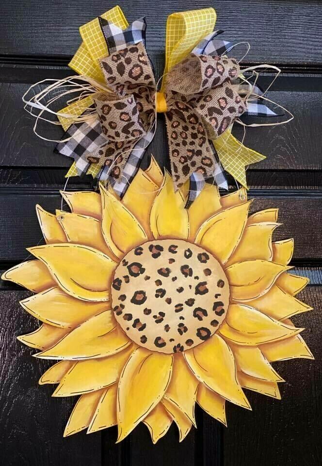 Cheetah Print Sunflower Door Hanger