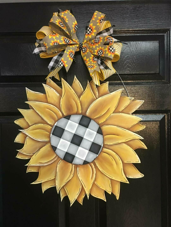 Buffalo Plaid Sunflower Door Hanger